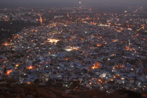 View of Bundi at Night.  View from the fort a top the mountain.